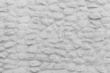 Fototapete - Old white stone wall front view, background texture