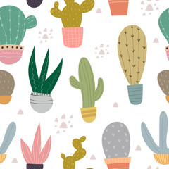 Seamless pattern with cartoon cacti, decor elements. plants. Colorful vector, flat style. Hand drawing, floral ornament. design for fabric, textile, print, wrapper