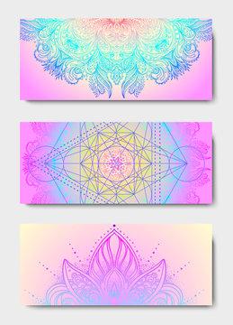 Yoga mat design set. Colorful template for spiritual retreat or yoga studio. Indian floral paisley pattern. Vector illustration. Ethnic Mandala towel. Vector Henna tattoo style.