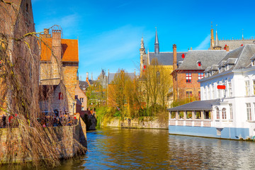 Door stickers Bridges Bruges, Belgium iconic cityscape with medieval houses, towers and Rozenhoedkaai canal