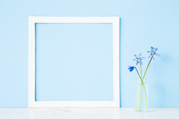 Fresh snowdrops or scilla in glass vase on table at light pastel blue wall. First messengers of spring. Empty place for inspirational, emotional, sentimental text, quote or sayings in white frame.