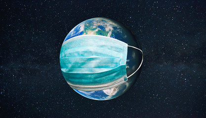 The planet earth is wearing a protective mask in the space. Concept of quarantine, protection from viruses and pandemic. Elements of this image furnished by NASA