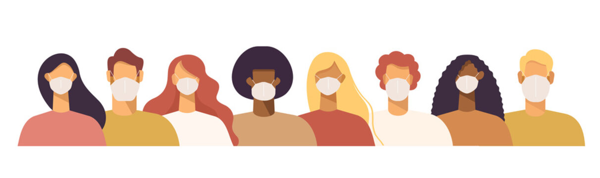 Set of people in protective face dust masks. Bundle of men and women wearing protection from urban air pollution, smog, vapor, pollutant gas emission and virus. Flat vector illustration