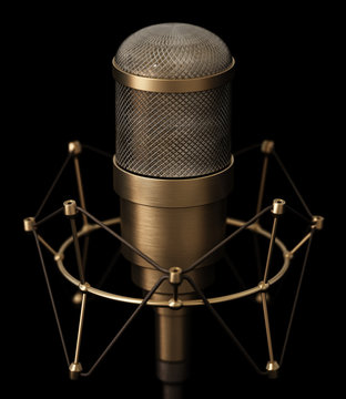 Vintage brass microphone isolated on black background. 3D illustration