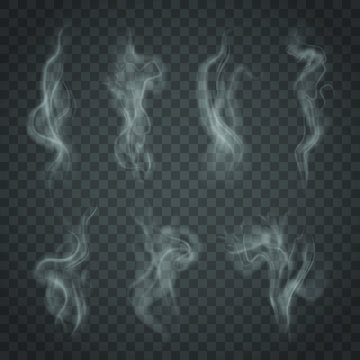 Set of isolated smoke on a transparent background. White steam from a cup of coffee or tea