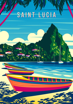 St. Lucia Island landscape with traditional caribbean boats, palm trees, island and the sea in the background.