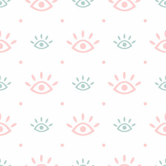 Cute seamless pattern with repeating eyes and polka dots. Modern trendy print. Simple vector illustration.