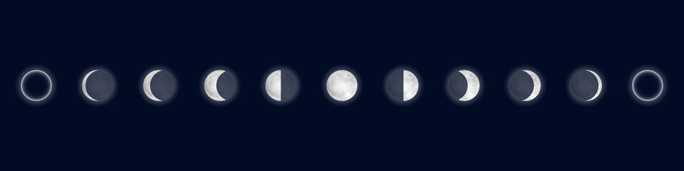 Lunar phases. Cycle from the full moon to new moon. Isolated on blue background. Vector illustration. Fototapete