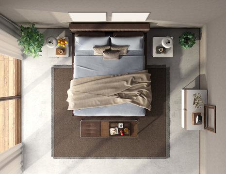 Top view of a blue and brown master bedroom