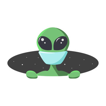 Stay home humans and take care of yourself. Alien masked for protection, climbs out from the hole of space. Extraterrestrial in flat cartoon style for t-shirt, print or textile. Vector illustration