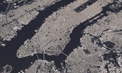 New York city map 3D Rendering. Aerial satellite view. Wall mural
