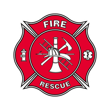 Fire Department Emblem St Florian Maltese Cross