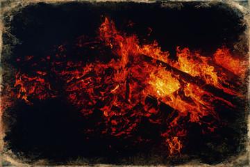 beautiful big fire on black night background, old photo effect.