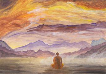 Acrylics painting of asian mountains & meditating Buddhist monk in orange robe. Hand drawn oriental style landscape with layers of rocks. Concept for decoration, relax, restore, meditation background.