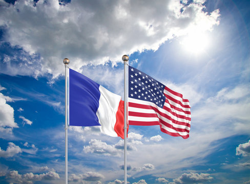 United States of America vs France. Thick colored silky flags of America and France. 3D illustration on sky background. - Illustration