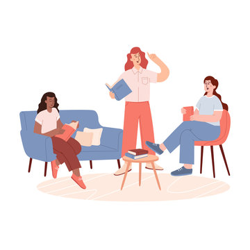 Group of woman sitting on sofa and listening to girl reading book. Books lover club vector landing page