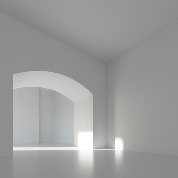 White Room with Arc 3d render