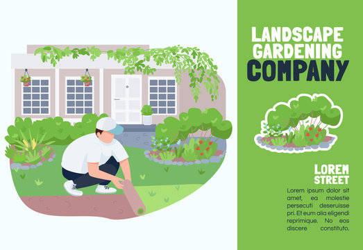 Landscape gardening company banner flat vector template. Brochure, poster concept design with cartoon characters. Courtyard greening service, lawn care horizontal flyer, leaflet with place for text