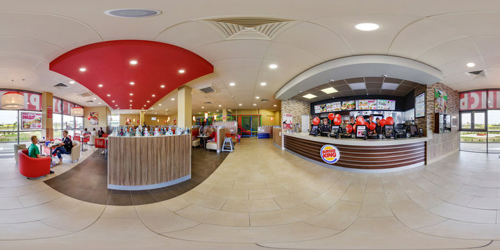 MINSK, BELARUS - MAY, 2017: full seamless panorama 360 degrees angle view in interior in modern elite fast food cafe burger king in equirectangular spherical projection. ar vr content