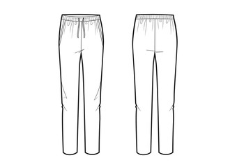 Vector illustration of women's pants. Front and back views