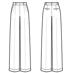 Vector illustration of women's classic pants. Front and back views