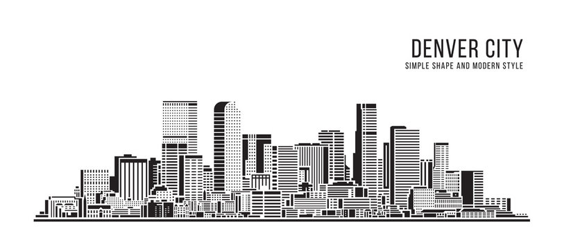 Cityscape Building Abstract Simple shape and modern style art Vector design - Denver city