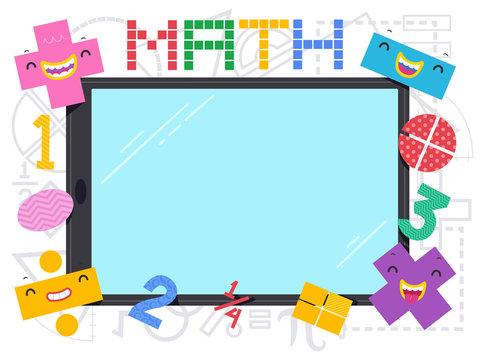 Math Mascot Operators Tablet Illustration