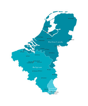 Vector modern isolated illustration. Simplified political map of states of Benelux Union. Blue shapes. Names of largest cities of Belgium, Netherlands, Luxembourg