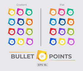 Colorful Gradient And Flat House or Arrow Icon Bullet Points Set Collection With Number From One Twelve. Vector. EPS 10
