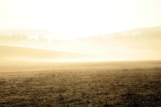 Fog, Haze, Morning fog, Autumn, Waltershausen, Thuringia, Germany, Europe