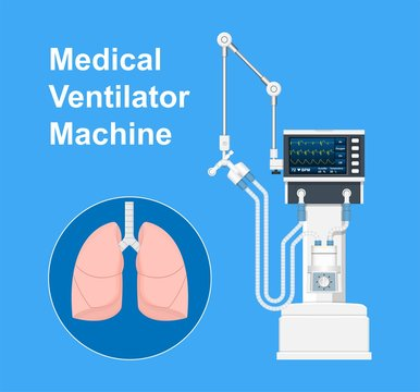Ventilator Medical Machine Equipment for Tracheostomy Patient Breathing in Operating Room Surgery Hospital Clinical ICU Intensive Care Unit Bag Valve Mask