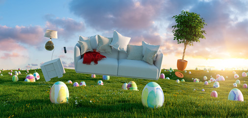 Zero Gravity Sofa hovering over many colorful painted Easter eggs on a meadow with furniture at sunset