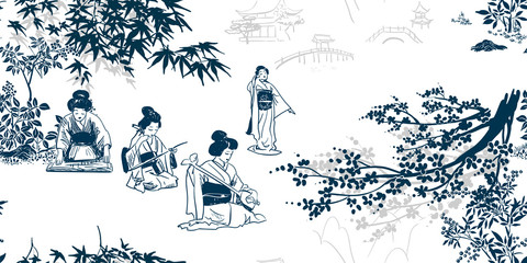 vector ink illustration sketch japanese chinese style line art design seamless pattern kimono girl plays music
