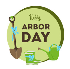 National Arbor Day. Vector Illustration with leaves. Earth Day. Suitable for greeting card, icon, poster, logo and banner. Symbol of arboriculture and forests.