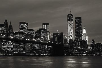 Manhattan and Brooklyn Bridge at night Wall mural