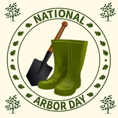 National Arbor Day. Rubber boots and a shovel on a background of symbolic printing. Forest restoration, gardening of city and suburban parks, squares. On a light background. Vector illustration