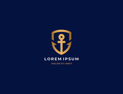 Anchor logo icon design template. Business symbol or sign. Line anchor shield luxury logotype. Vector illustration