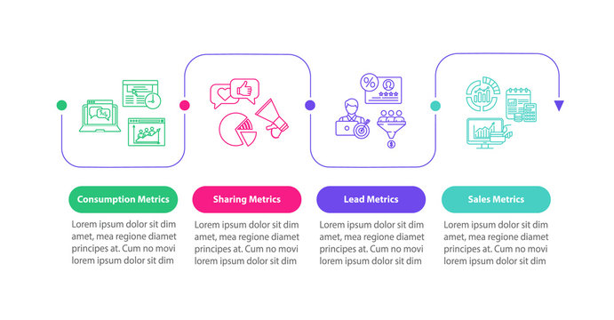 CRM efficiency metrics vector infographic template. Lead generation analysis presentation design elements. Data visualization with 4 steps. Process timeline chart. Workflow layout with linear icons