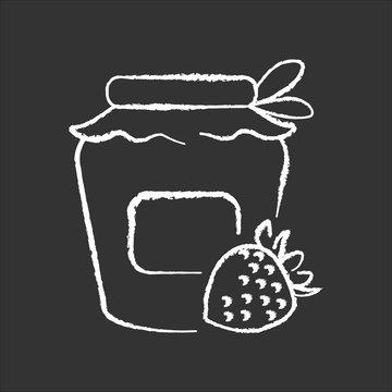 Bottling chalk white icon on black background. Homemade fruit jam preparation, delicious confiture making process. Canning. Sweet strawberry marmalade jar isolated vector chalkboard illustration