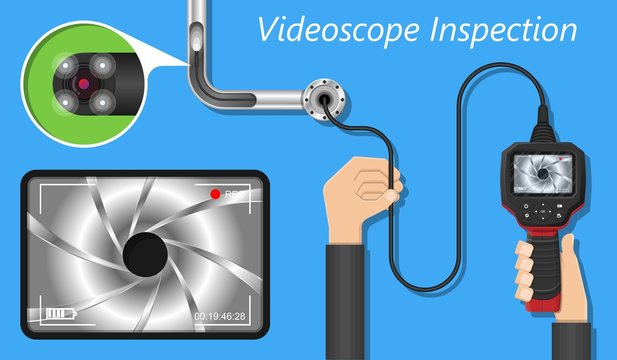 videoscope borescope inspection oil and gas system electrical pipe power inspect
