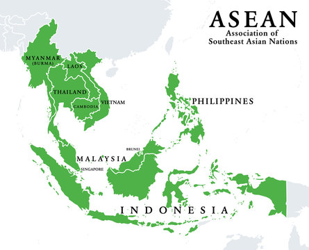 ASEAN member states, infographic and map. Association of Southeast Asian Nations, a regional intergovernmental organization with 10 member countries, shown with green color. Illustration. Vector.