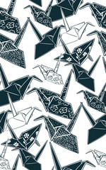 paper cranes origami seamless pattern japanese chinese oriental vector ink style design elements illustration