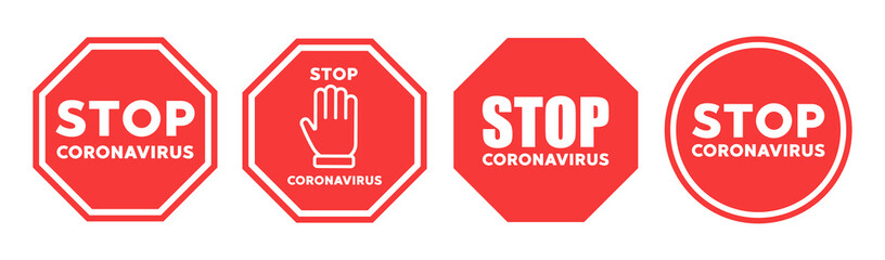 Stop coronavirus icon vector sign
