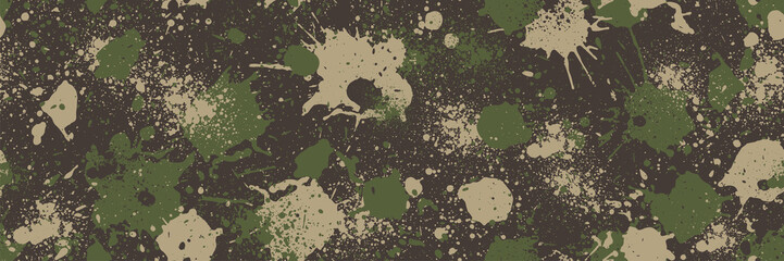 Splash camouflage background. Seamless pattern.Vector. 飛び散った迷彩パターン