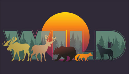 Vector animal silhouettes_composition wild forest and animals Papier Peint