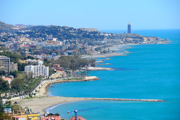 Canvas Prints Abu Dhabi Malaga, Spain - March 4, 2020: Views of the city of Malaga with the Beaches of Pedregalejo and Acacias.