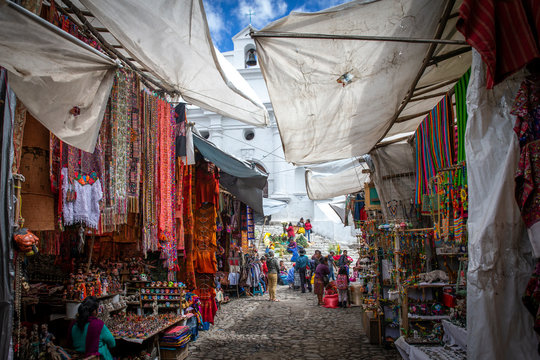 scene of Chichicastenango market in Guatemala