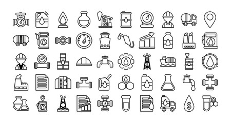 set of icons oil , line style icon