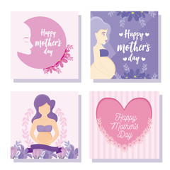 happy mothers day cards with womens and flowers icon set