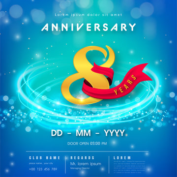 8 years anniversary logo template on blue Abstract futuristic space background. 8th modern technology design celebrating numbers with Hi-tech network digital technology concept design elements.